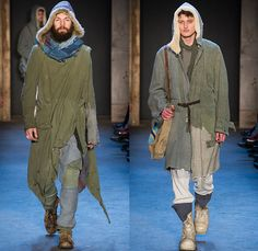 Greg Lauren 2015-2016 Fall Autumn Winter Mens Runway Catwalk Looks - New York Fashion Week NYFW - Denim Jeans Post-Apocalyptic Military Urban Nomad Soldier Patchwork Scraps Cargo Pants Blanket Scarf Wrap Rags Shearling Raw Hem Frayed Pinstripe Canvas Outerwear Coat Cloak Poncho Robe Boots Furry Suit Blazer
