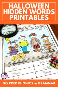 Are you looking for NO Prep Halloween activities for first grade? This FUN unit has printable Find the Hidden Word worksheets for phonics and grammar. These are perfect for a language arts group, bell ringer activity, distance learning, or a learning center. Five phonics skills are included like ending blends, long or short vowels, and more. For grammar students will do singular and plural nouns, verb tenses, and more. Grab this fall unit to use with 1st grade, 2nd grade or high… Halloween Worksheets, Halloween Math, Halloween Activities, Holiday Activities, Halloween Crafts, Indoor Activities For Toddlers, Learning Activities, Teaching Resources, Singular And Plural Nouns