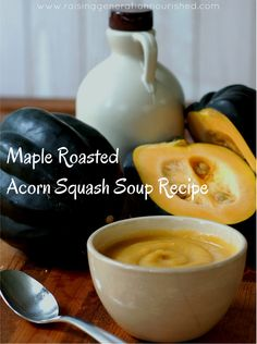 Maple Roasted Acorn Squash Soup Recipe - This stores beautifully in the freezer. Stock up while squash is super cheap in fall, and use the soup for quick school lunch thermos additions. Also makes for an easy dinner!