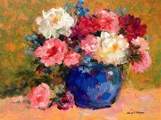 "Daily Paintworks - ""Peonies in Bloom"" - Original Fine Art for Sale - © Nancy F. Morgan"