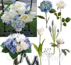 Blue & Cream White Wedding Flowers ~ Stella's Inspiration Board