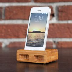 Docking/Charging Station in BAMBOO for iPhone 5/5S   - Amplifies the Sound Acoustically on Etsy, $35.00