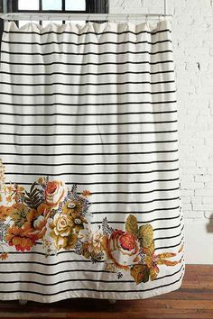 Window treatment inspiration | Thin horizontal black or navy stripes