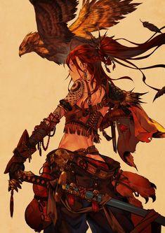 Fantasy art illustration, warrior girl and eagle book deadpool, swords, samurai Character Concept, Character Art, Concept Art, Character Ideas, Manga Art, Anime Art, Anime Krieger, Fantasy Kunst, Fantasy Warrior