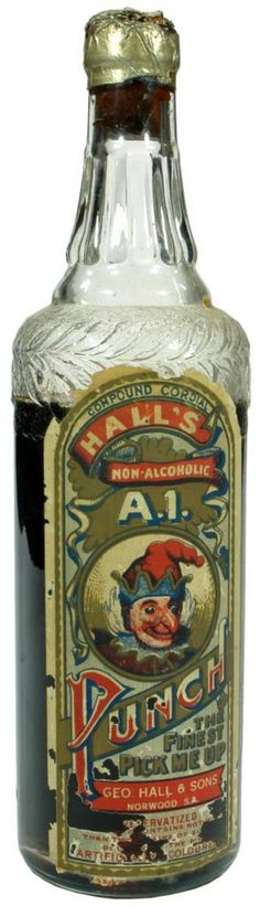 George Hall & Sons, Norwood. A1 Punch. Labelled cordial bottle. c1930s