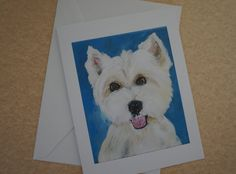 Westie - West Highland White Terrier Card Pk of 5 feat. my Original Acrylic Art - left blank inside for message, 5 envelopes  by MoonbeamsBearDreams on Etsy♥♥