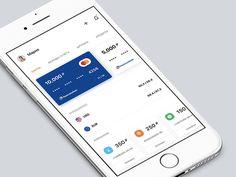 Красивый банковский интерфейс. Интересно сделаны два горизонтальных набора карточек.