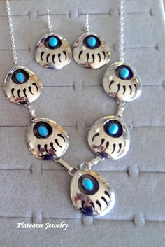 Navajo Native Indian handmade Bear Claw Necklace and Earring Set, Sterling Silver and Natural Turquoise.