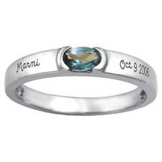 Sterling Silver Stackable Simulated Birthstone Band by ArtCarved® (1 Stone and 2 Lines)