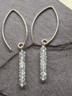 Stacked Faceted Moon Stone Drop Earrings by CMEjewelry on Etsy