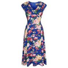 'Willow' Gorgeous English Garden Bouquet Print Vintage Inspired 50's Tea Dress