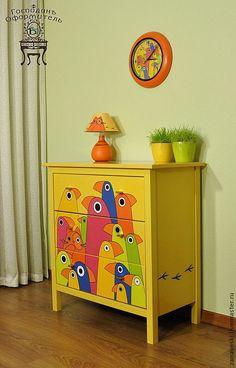 """Купить Комод «Сrazy cat"""" - желтый, оранжевый, попугаи, кот, кошка, спальня, гостинная"""