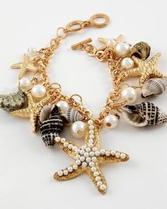 Seashell Charm Bracelet Pearls Seashells Starfish Toggle clasp Goldtone