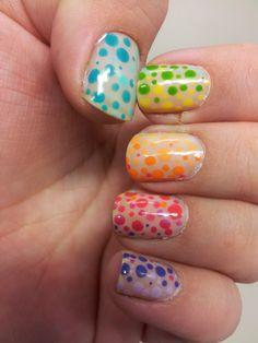 Nailhilism: Whole hand multi colour dotting gradient!
