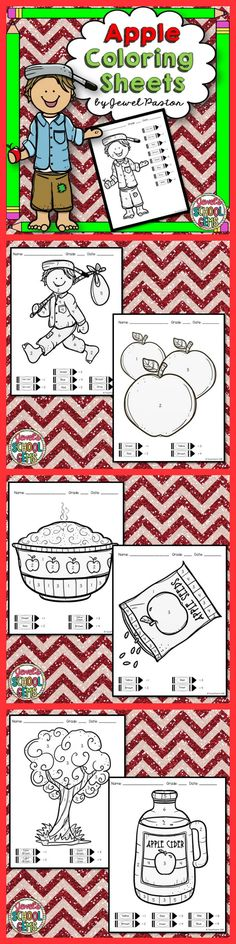 """Apples : Apples Coloring Sheets """"Apple Coloring Sheets"""" is the perfect activity for your students this back to school. Just print the sheets and you are ready to go! Please see Preview to see all 7 sheets you are getting."""
