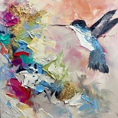 Blaire Wheeler Fine Art - New Bird Art Hummingbird and Gold Leaf shared on FB 3rd Nov 2015 ♥•♥•♥Beautiful♥•♥•♥