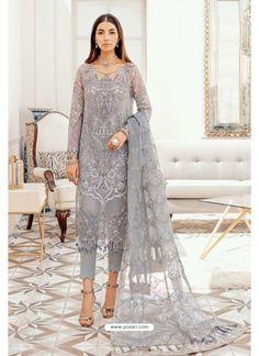 Grey Designer Pakistani Style Suit Pakistani Designer Suits, Pakistani Dress Design, Pakistani Suits, Pakistani Dresses, Eid Dresses, Chiffon Dresses, Fashion Dresses, Latest Pakistani Fashion, Asian Fashion