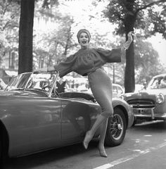 Simone d'Aillencourt and the MG, photo by Georges Dambier, Paris, ELLE, 1957