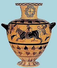Idria con la rappresentazione del ratto di Europa in groppa al toro, che attraversa il mare tra pesci e delfini. VI sec. a. C.  Tarquinia, Museo Archeologico.