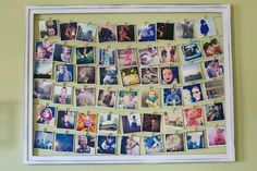 Einfach mit einem Tacker hinten am Bilderrahmen Garn befestigen und mit kleinen Wäscheklammern (http://amzn.to/17DmJVB) eure schönsten Bilder aufhängen ♥