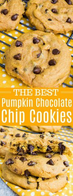 Pumpkin Chocolate Chip Cookies #cookie #pumpkin #fall