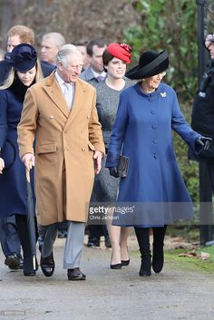 (L-R)  Autumn Phillips, Prince Harry, Prince Charles, Prince of Wales, Princess Eugenie and Camilla, Duchess of Cornwall attend a Christmas Day church service at Sandringham on December 25, 2016 in King's Lynn, England.  (Photo by Chris Jackson/Getty Images)
