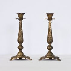 10'' Shabbat Candle Holders Vintage Brass by CozyTraditions