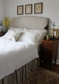 Upholstered headboard tutorial + bedside tables made from vanity split