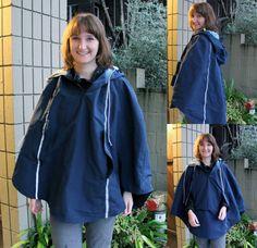 Rain Cape - The Finished Project Rain Jackets, Rain Cape, Sweater Jacket, Sewing Ideas, Seattle, Windbreaker, Raincoat, Bike, Hat