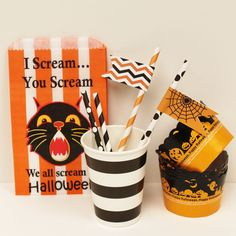 """Fun charming vintage style Halloween Party goods...""""Drink Stirrers & Cocktail Paper Straws""""...!!"""