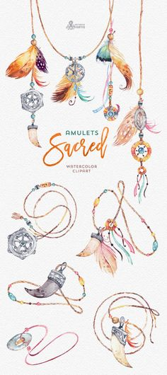 Sacred Amulets. Tribal Watercolor Clipart. Fang by OctopusArtis