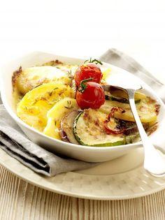 Gratin végétarien aux pommes de terre, aubergine, et courgette »