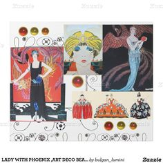 LADY WITH PHOENIX ,ART DECO BEAUTY FASHION COSTUME WRAPPING PAPER
