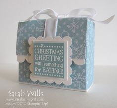 """Cute box holds 4 Ghiradelli chocolate squares, instructions using 8x4.25"""" cardstock."""