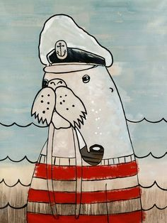 CC266 #canvasandcanvas #animal #art #walrus #captainwalrus #sea #canvasart