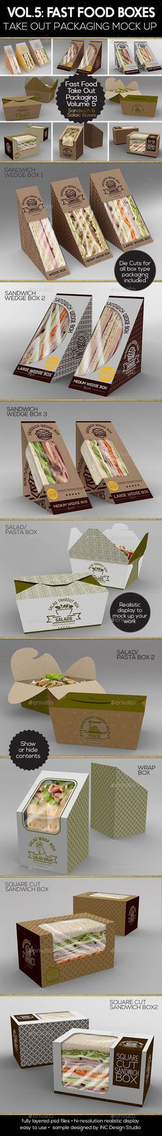 Fast Food Boxes Vol.5:Take Out Packaging Mock Ups — Photoshop PSD #pasta #disposable • Available here → https://graphicriver.net/item/fast-food-boxes-vol5take-out-packaging-mock-ups/18337613?ref=pxcr