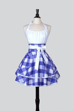 Flirty Chic Apron Purple and White Gingham in por CreativeChics