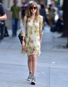 Dakota-Johnson-In-New-York-Yellow-Floral-Dress