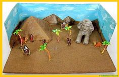 This is a diorama of Ancient Egypt that I made for a school project in the late when I was doing a report on Egypt. The desert and largest pyramid Ancient Egypt Crafts, Ancient Egypt For Kids, School Projects, Projects For Kids, Project Ideas, Pyramid School Project, Theme Nouvel An, Egypt Art, Thinking Day