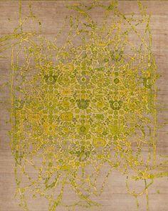 Erased handmade rug from German textile designer Jan Kath (b.1972). Tibetan Highland wool, silk, and nettle. via the made shop