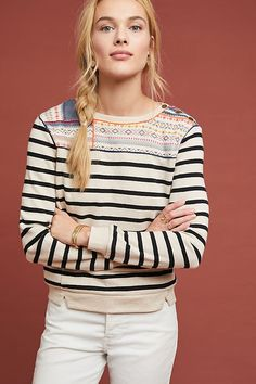 Anthropologie Finn Striped Pullover - New With Tags Purple Vests, Long Jumpers, Jackets Uk, Lace Peplum, Striped Jacket, Ribbed Sweater, Boho Tops, Blouses For Women, Blue Denim