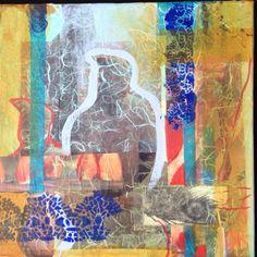 Flamingo dream ll, mixed media 30x30 cm