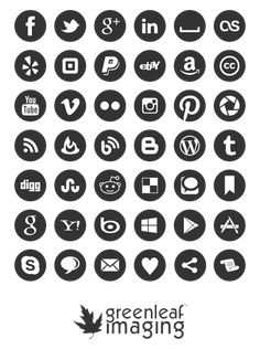 Social media icon set by Greenleaf Imaging, free download, clean, simple and well made.