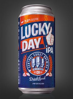 Central Coast Brewing's Lucky Day IPA can created by Guru Design.
