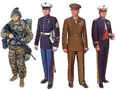 Us Marine Corps Uniforms | left to right: Utility Uniform, Blue Dress Uniform, Service Uniform ...