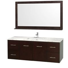 """For the vanity room - Centra 60"""" Single Bathroom Vanity for Undermount Sinks by Wyndham Collection - Espresso"""