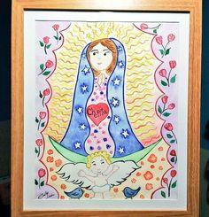 Mi primera entrega en cuadro Mi primera pintura que regalo Para una gran maestra y buena amiga  Mi estimada #Chepita  #VírgendeGuadalupe #laMorenita #LareinadeMéxico #acuarela #watercolor #méxico #originaldesigns  #latepost #sorpresa