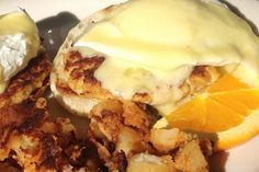 Crab Cake Eggs Benedict with Roasted Potatoes. - I had these at The Egg and I...delicious! - WM