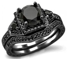 2.05ct Black Round Diamond Engagement Ring Bridal Set 14k Black Gold--one day all my bands will match Brian's black wedding ring.