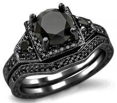 2.05ct Black Round Diamond Engagement Ring Bridal Set 14k Black Gold